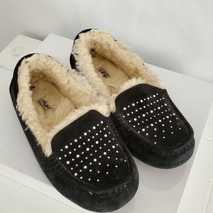 Ugg Ansley Bling Suede Slippers Black Size 6